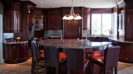 ParkerHouse Custom Furniture and Cabinetry, Kitchener Project Featuring Cherry Solid Wood with Book Matched Madrone Burl Veneer Kitchen 1