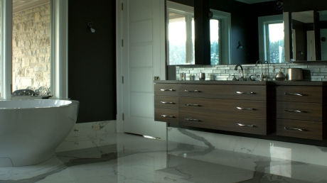 ParkerHouse Custom Furniture and Cabinetry, Waterloo Project Featuring Zebra Wood Vanity and Mirror Frame 1
