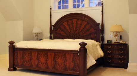 ParkerHouse Custom Furniture and Cabinetry in Oakville Featuring Genuine Crotched Mahogany King size Bed