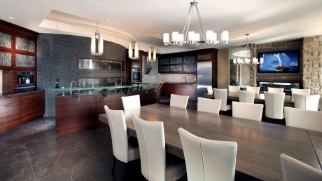 ParkerHouse Custom Furniture and Cabinetry in Waterloo Featuring Quarter Sawn Walnut Bars, Kitchennete and Wall Panels 1